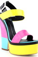 Giuseppe Zanotti Patent Leather Color Block Wedge Sandal - Lyst
