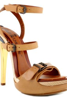 Lanvin Multistrap Sandal with Gold Heel - Lyst