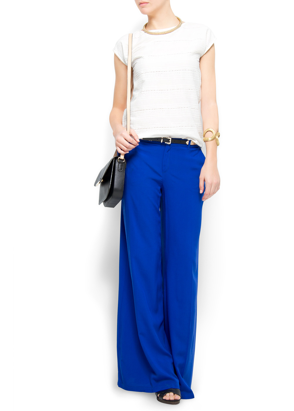 Lyst mango palazzo trousers in blue for Palazzo 24