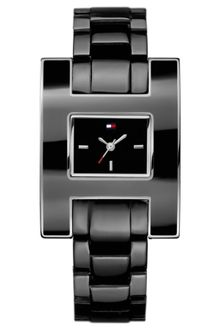 Tommy Hilfiger Womens Black Enamel and Stainless Steel Bracelet 39mm - Lyst