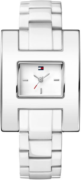 Tommy Hilfiger Womens White Enamel and Stainless Steel Bracelet 39mm in White - Lyst