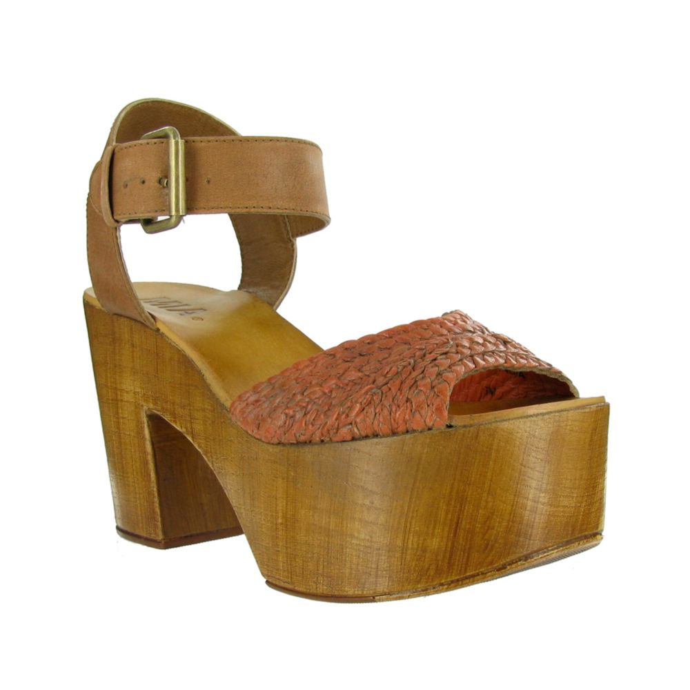 ec2e975eab9 Lyst - MIA Weaver Platform Sandals in Orange