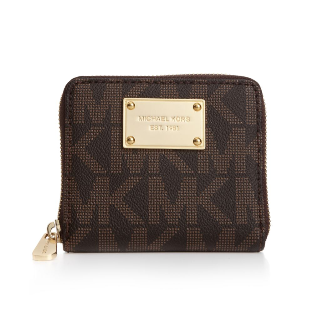 c719f6b2d379 ... wholesale lyst michael kors mk logo small zip around wallet in brown  a9551 779d4