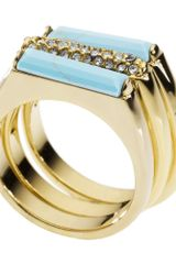 Michael Kors Gold Tone Reconstituted Turquoise and Crystal Stack Rings in Gold - Lyst