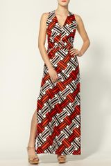 Milly Caroline Belted Basketweave Print Maxi Dress in Orange (tangerine) - Lyst