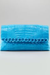 Nancy Gonzalez Large Chain Crocodile Clutch Cerulean Matte - Lyst