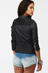 Nasty Gal Spiked Moto Jacket Black - Lyst