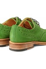 Oliver Spencer Country Suede Wingtip Brogues in Green for Men - Lyst
