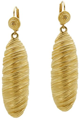 T Tahari Gold Tone Wrapped Oval Earrings - Lyst