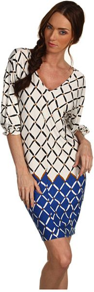 Tibi Nadia On Jersey Vneck Dress in Blue (c) - Lyst