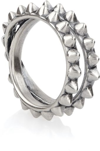 Tom Binns Punk Pave Spiked Oxidized Silver Ring - Lyst