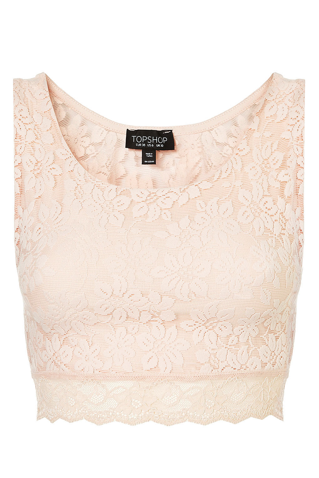 27ac2714afe TOPSHOP Lace Crop Top in Pink - Lyst