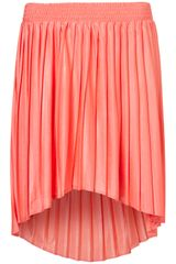 Topshop Pleated Dip Hem Skirt - Lyst