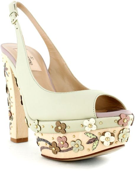 Valentino Pretty Flowers Sandal in Beige - Lyst