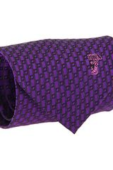 Versace Iconic brand logo pattern tie in Purple (p) - Lyst