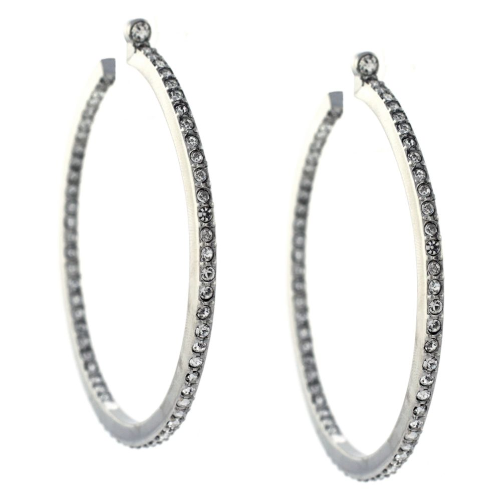 7baf2b078627 Lyst - Vince Camuto Large Silver Plated Pave Crystal Hoop Earrings ...