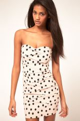 ASOS Collection Asos Strapless Dress in Spot Print - Lyst