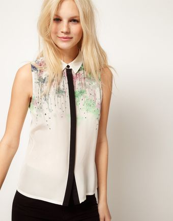 ASOS Collection Asos Premium Silk Shirt with Placement Floral and Studs - Lyst