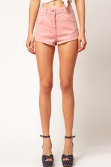 Asos Collection Asos High Waisted Denim Shorts in Washed Rose in Pink (rose) - Lyst