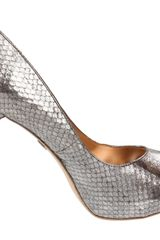 Badgley Mischka Badgley Mischka Womens Willoe Peeptoe Pump in Silver (pewter snake) - Lyst