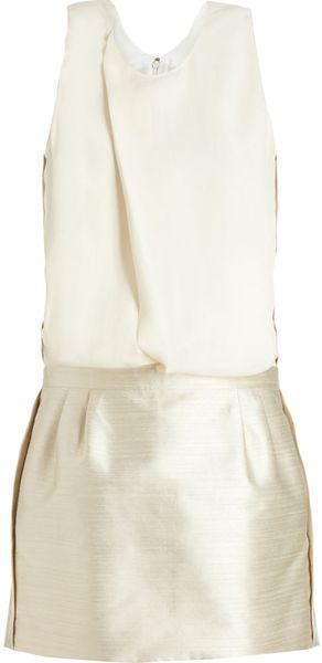 Balenciaga Combo Dress in Gold (white) - Lyst
