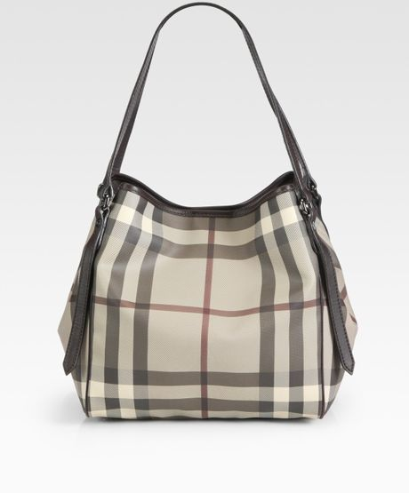 Burberry Small Cantebury Smoked Check Tote Bag in Beige - Lyst