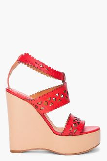 Chloé Red Laser Cut Wedges - Lyst
