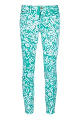 Current/Elliott Currentelliott and Dvf The Skinny Jean Mint Tropical - Lyst