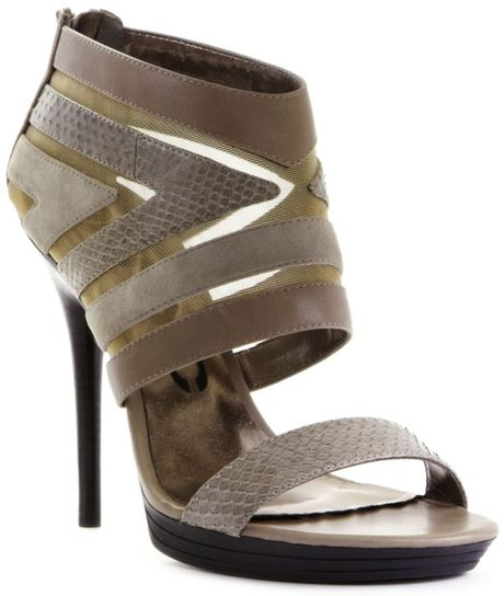 Dkny Sasha High Heel Sandals in Gray (pebble) - Lyst