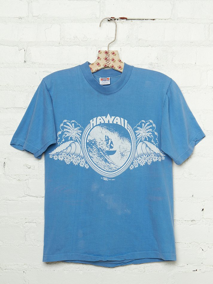Free people vintage hawaii graphic tee in blue lyst for Hawaiian graphic t shirts