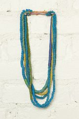 Free People Vintage Blue and Green Beachy Bead Necklaces - Lyst