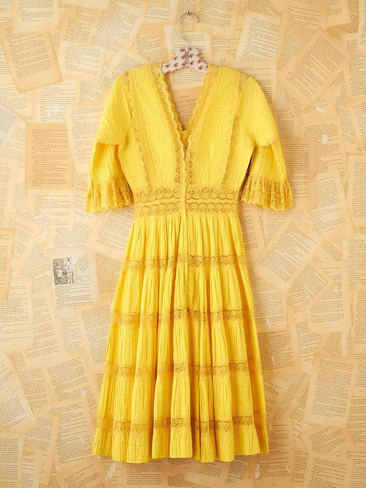 Free people Vintage Yellow Pleated Maxi Dress in Yellow | Lyst