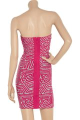 Hervé Léger Patterned Bandage Dress in Purple (pink) - Lyst