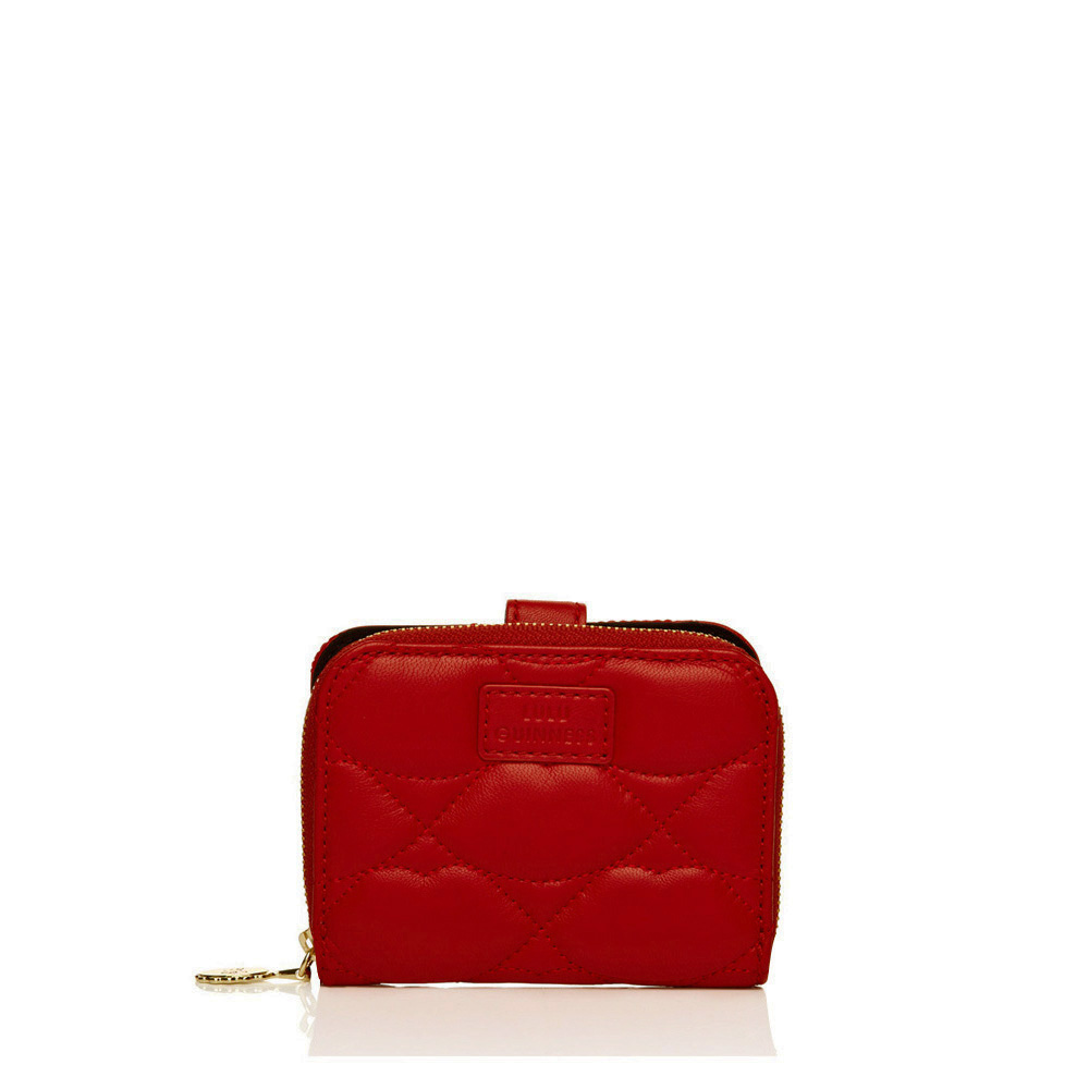 Lulu Guinness Red Quilted Lips Leather French Zip Purse In