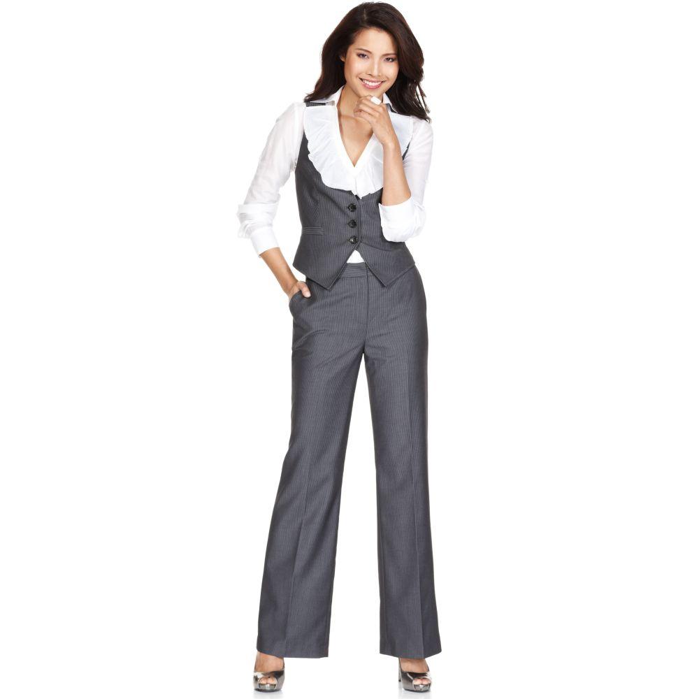b9d7e3dccf Nine West Suit Pinstriped Vest Long Sleeve Ruffled Shirt Pants in ...