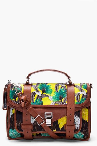 Proenza Schouler Floral Yellow Ps1 Medium Satchel - Lyst