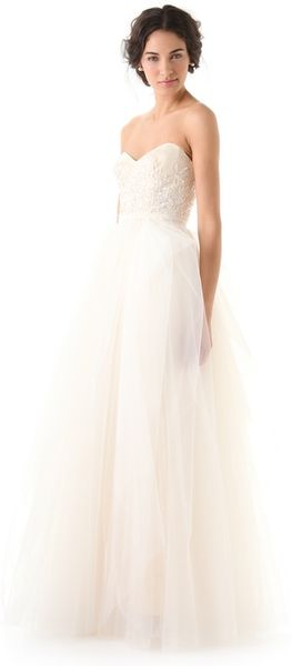 Reem Acra Eternity Dress in White (ivory) - Lyst