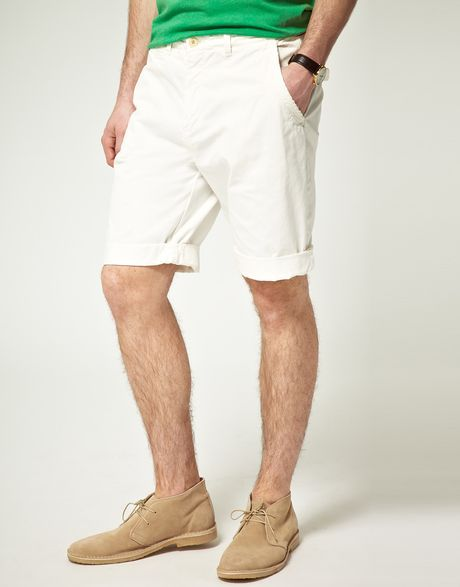 Scotch & Soda Scotch Soda Cotton Twill Chino Shorts in White for Men (denimwhite)