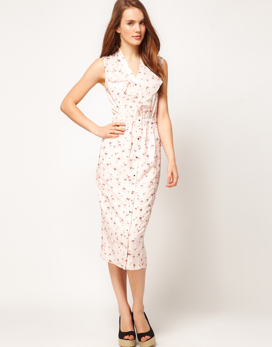 c70027d7049 Lyst - Ted Baker Ted Baker Midi Dress in Flamingo Print in Pink