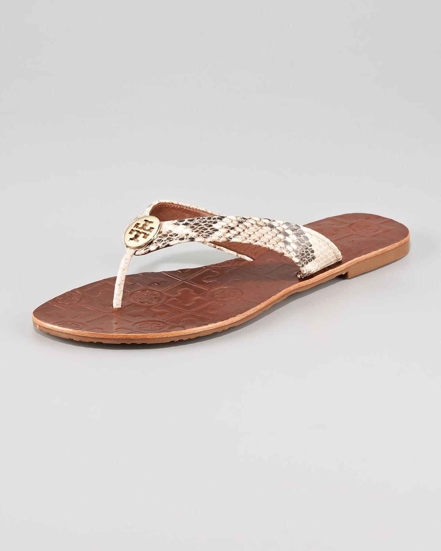 17dc651e6 ... promo code lyst tory burch thora snake print thong sandal in metallic  e6eb4 8dc84