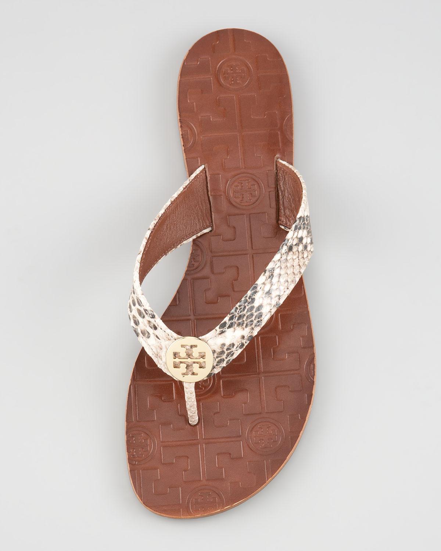 1479913f4ff0 Lyst - Tory Burch Thora Snake print Thong Sandal in Metallic