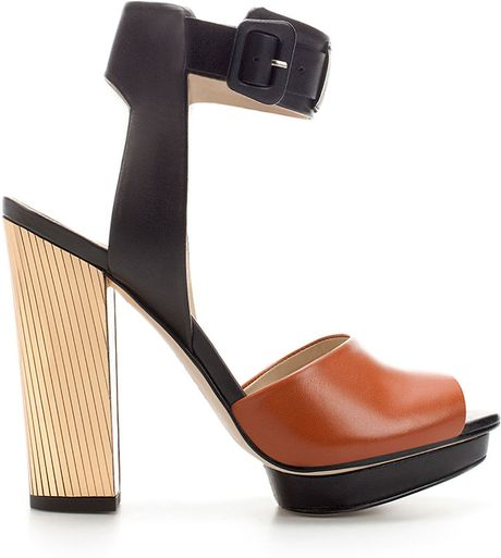 Zara Laminated Heel Sandal in Brown (two-tone) - Lyst