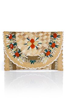 Anya Hindmarch Natural Gem Embellished Straw Ipanema Clutch - Lyst
