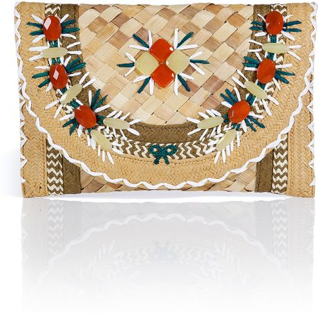 Anya Hindmarch Natural Gem Embellished Straw Ipanema Clutch in Multicolor (natural) - Lyst
