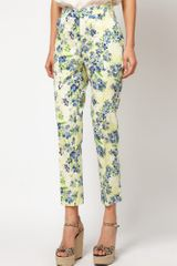Asos Collection Asos Ankle Grazer Trousers in Floral Print in Blue (yellowprint) - Lyst
