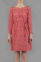 Aspesi Printed Silk Crêpe De Chine Dress in Floral (red) - Lyst