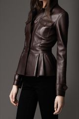 Burberry Peplum Waist Leather Jacket - Lyst