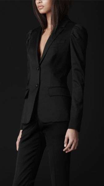 Burberry Prorsum Virgin Wool Puff Shoulder Jacket in Black - Lyst