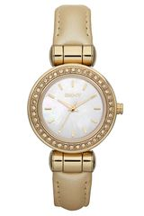 DKNY Glitz Small Round Dial Leather Strap Watch - Lyst