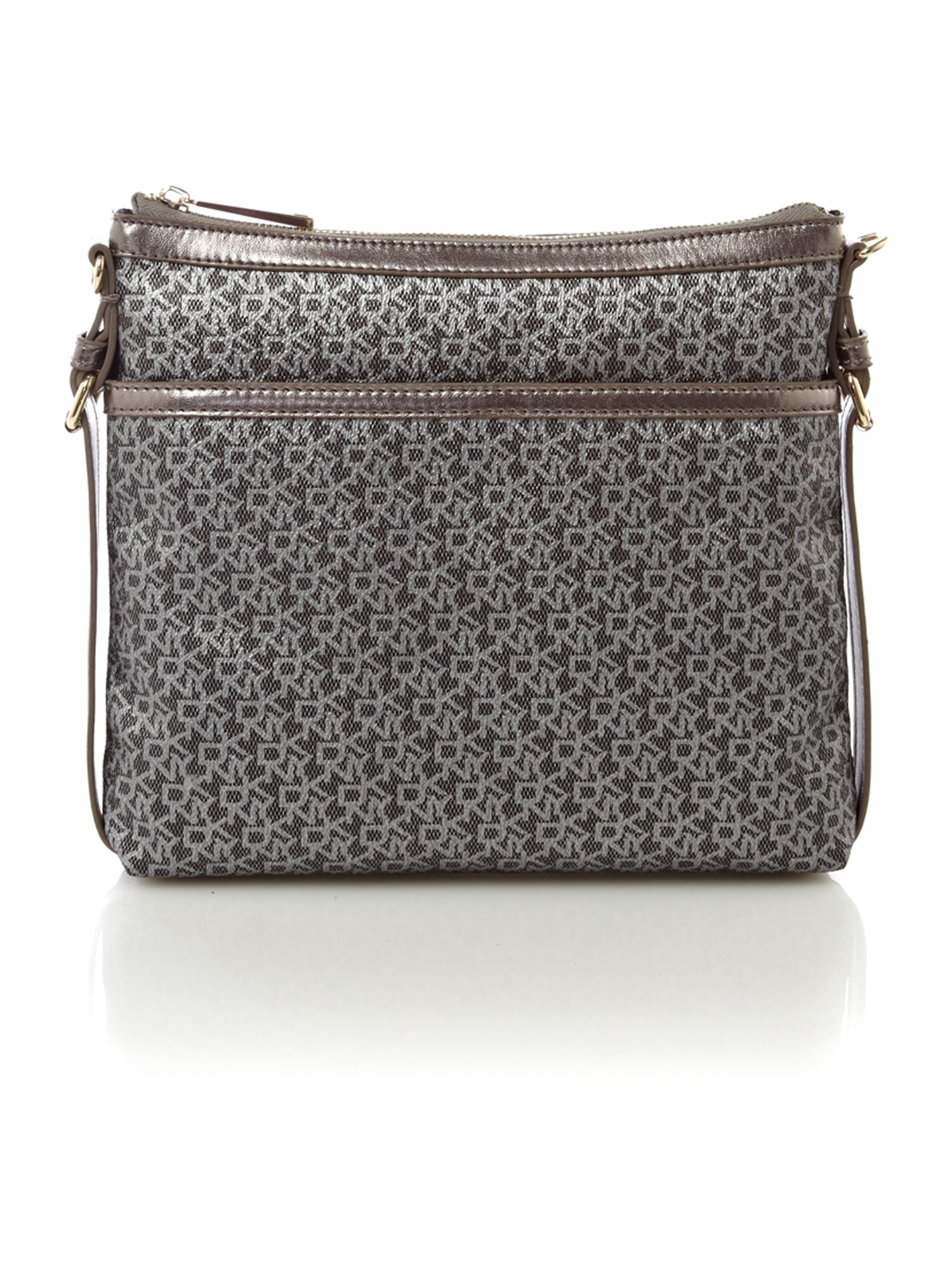 dkny coated logo crossbody bag in gray grey lyst